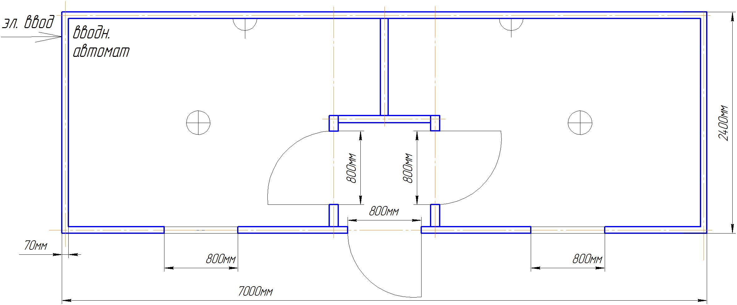 Блок Контейнер 6х2,4м с плоской цельносварной крышей