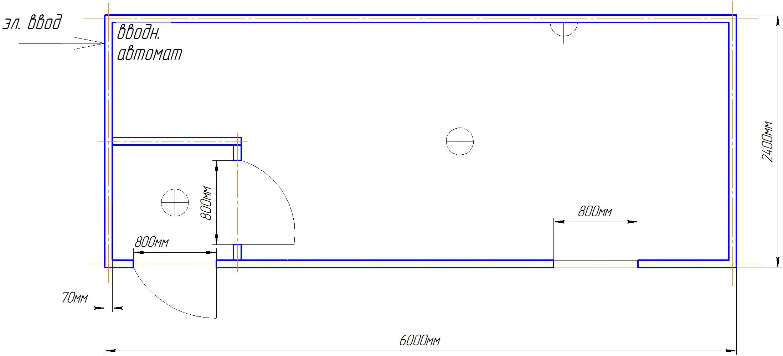 Блок контейнер 6х2.4м с профнастильной крышей